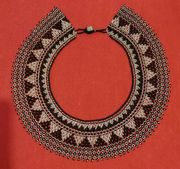 Ethnic Beaded Black & Silver Necklace